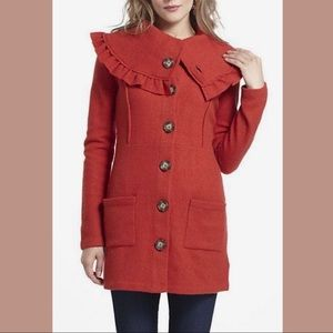 Anthro {Monogram} Herlev Red Wool Sweater Coat
